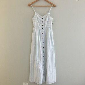 NWT Modcloth Seersucker Pastel Stripe Midi Dress
